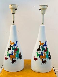 Raymor PAIR OF MID CENTURY CERAMIC LAMPS WITH COLORFUL HORSES BY RAYMOR - 1557411
