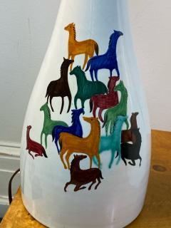 Raymor PAIR OF MID CENTURY CERAMIC LAMPS WITH COLORFUL HORSES BY RAYMOR - 1557413