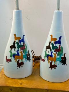 Raymor PAIR OF MID CENTURY CERAMIC LAMPS WITH COLORFUL HORSES BY RAYMOR - 1557414