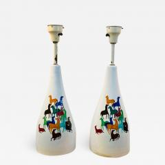 Raymor PAIR OF MID CENTURY CERAMIC LAMPS WITH COLORFUL HORSES BY RAYMOR - 1565279