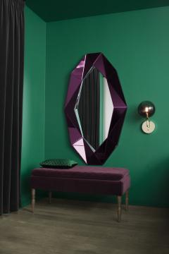 Reflections Copenhagen Burgundy Large Diamond Decorative Mirror - 769062