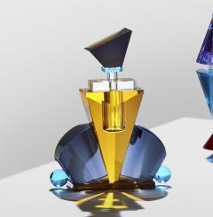 Reflections Copenhagen Set of 4 Colorful Crystal Perfume Flacons Hand Sculpted Contemporary Crystal - 1415371