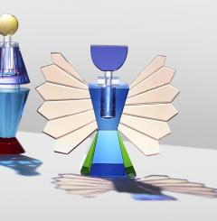 Reflections Copenhagen Set of 4 Colorful Crystal Perfume Flacons Hand Sculpted Contemporary Crystal - 1415372
