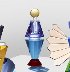 Reflections Copenhagen Set of 4 Colorful Crystal Perfume Flacons Hand Sculpted Contemporary Crystal - 1415374