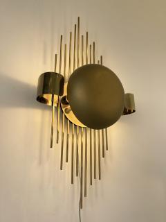 Reggiani Pair of Brass Sun Sconces Italy 1970s - 2020374
