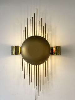 Reggiani Pair of Brass Sun Sconces Italy 1970s - 2020376