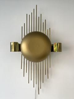 Reggiani Pair of Brass Sun Sconces Italy 1970s - 2020380