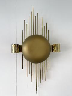 Reggiani Pair of Brass Sun Sconces Italy 1970s - 2020383