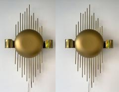 Reggiani Pair of Brass Sun Sconces Italy 1970s - 2020386