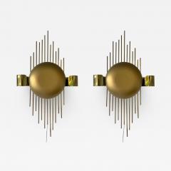 Reggiani Pair of Brass Sun Sconces Italy 1970s - 2022425
