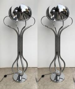 Reggiani Pair of Metal Chrome Articulated Floor Lamps by Reggiani Italy 1970s - 1226539