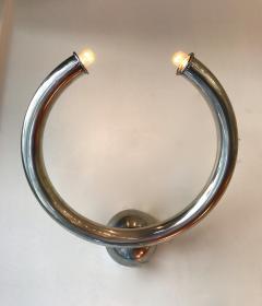 Reggiani Pair of Metal Ring Sconces by Reggiani Italy 1970s - 522079