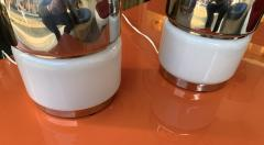 Reggiani Pair of Salt and Pepper Lamps Metal Opaline Glass by Reggiani Italy 1970 - 1718380