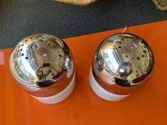 Reggiani Pair of Salt and Pepper Lamps Metal Opaline Glass by Reggiani Italy 1970 - 1718383