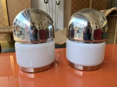 Reggiani Pair of Salt and Pepper Lamps Metal Opaline Glass by Reggiani Italy 1970 - 1718387