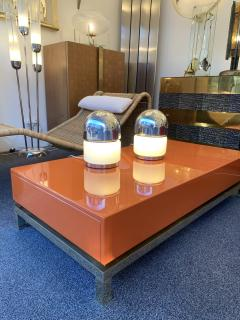 Reggiani Pair of Salt and Pepper Lamps Metal Opaline Glass by Reggiani Italy 1970 - 1718389