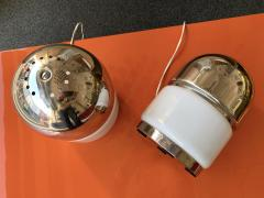 Reggiani Pair of Salt and Pepper Lamps Metal Opaline Glass by Reggiani Italy 1970 - 1718391