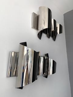 Reggiani Pair of Spiral Metal Chrome Sconces by Reggiani Italy 1970s - 1078493