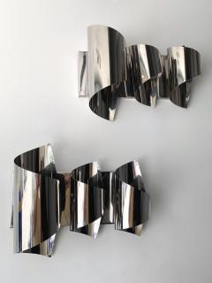 Reggiani Pair of Spiral Metal Chrome Sconces by Reggiani Italy 1970s - 1078495