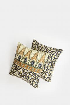 Reha Okay Set of 2 pillows with decorated fabric and gold application - 1782778