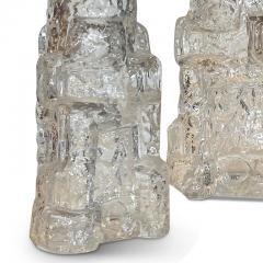 Reijmyre Glasbruk Pair of Petite Rustically Textured Glass Lamps by Reijmyre - 2128556