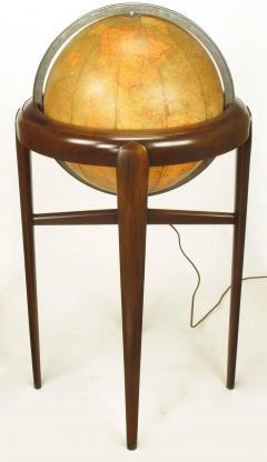 Replogle Replogle Illuminated Glass Globe on Mahogany Articulated Stand circa 1940s - 72527