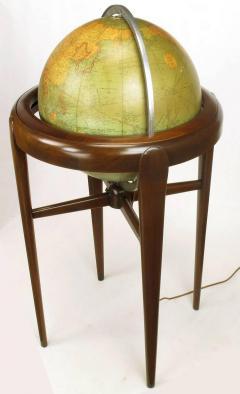 Replogle Replogle Illuminated Glass Globe on Mahogany Articulated Stand circa 1940s - 72529