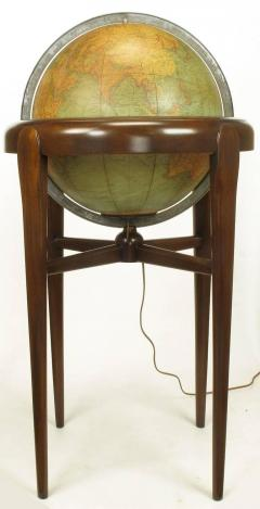 Replogle Replogle Illuminated Glass Globe on Mahogany Articulated Stand circa 1940s - 72533