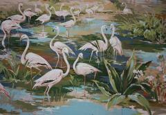 Richard Vigneux Richard Vigneux Large Oriental Painting Flamingos  - 791939