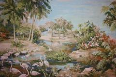 Richard Vigneux Richard Vigneux Large Oriental Painting Flamingos  - 791940