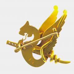 Riker Bros Riker Bros Enamel Diamond and Gold Dragon Pin - 178525