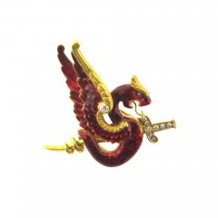 Riker Bros Riker Bros Enamel Diamond and Gold Dragon Pin - 178859