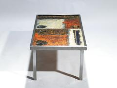Robert Jean Cloutier French Robert and Jean Cloutier ceramic coffee table 1950s - 993033