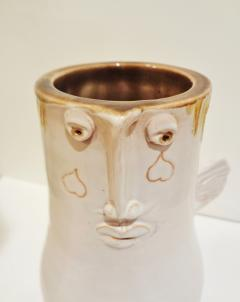 Robert Jean Cloutier White winged vase with face by Cloutier brothers 1960  - 997343