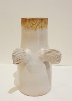 Robert Jean Cloutier White winged vase with face by Cloutier brothers 1960  - 997344