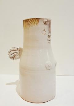Robert Jean Cloutier White winged vase with face by Cloutier brothers 1960  - 997347