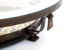 Roberto Mito Block Captivating Round Cocktail Table Bronze Art Glass by Roberto Mito Block 1940s - 2090024