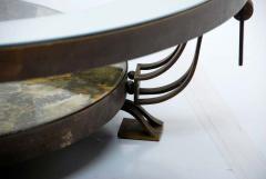 Roberto Mito Block Captivating Round Cocktail Table Bronze Art Glass by Roberto Mito Block 1940s - 2090029