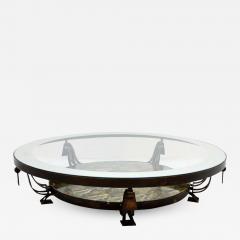 Roberto Mito Block Captivating Round Cocktail Table Bronze Art Glass by Roberto Mito Block 1940s - 2090350