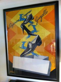 Robys Gazelle French Shoe Poster Signed Robys - 79252