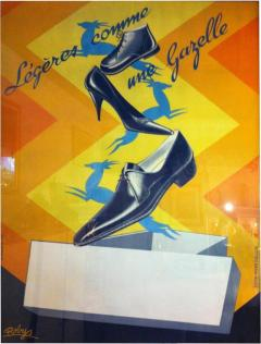 Robys Gazelle French Shoe Poster Signed Robys - 79672