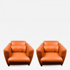 Roche Bobois Art Deco Leather Lounge Chair by Roche Bobois a Pair - 1676070