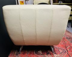 Roche Bobois Tufted Ivory Leather Lounge Chair in the manner of Roche Bobois - 1656383