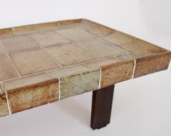Roger Capron ROGER CAPRON FRENCH 1970S CERAMIC TILE COFFEE TABLE MODEL CUVETTE WARM COLORS - 1908096