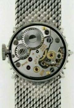 Rolex Rare 1960s 18kt White Gold Double Diamond Sun Spray Motif Mesh Bracelet Watch - 1205128