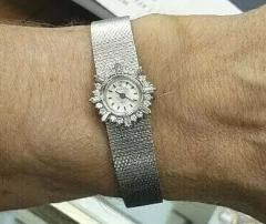 Rolex Rare 1960s 18kt White Gold Double Diamond Sun Spray Motif Mesh Bracelet Watch - 1205132