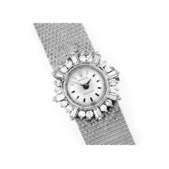 Rolex Rare 1960s 18kt White Gold Double Diamond Sun Spray Motif Mesh Bracelet Watch - 1205371