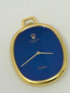 Rolex Rare 1970 80s 18Kt YG Rolex Cellini Pocket Watch w Satin Blue Pyramid Dial - 518784