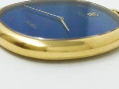 Rolex Rare 1970 80s 18Kt YG Rolex Cellini Pocket Watch w Satin Blue Pyramid Dial - 518788