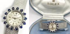 Rolex Rolex Rare 1960s 18 Kt White Gold Sapphire Diamond Wristwatch - 867411